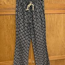 Roxy Oceanside Beach Linen Pants Low Rise Wide Leg Navy Blue Pattern L Photo