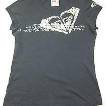 Roxy Paradise Grey Short Sleeve Crackle Logo T-Shirt Top Photo