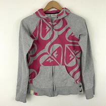 Roxy Pink Grey Logo Full Zip Hoodie Jacket Womens Casual Sz L Photo