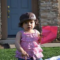 Roxy Pink Reversable Patch Infant Toddler Girls Sun Dress Beach Hat Cap 12m 24m Photo