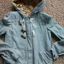 Roxy Plaid Jacket Girls M Aqua Blue Plaid  Free Ship Photo