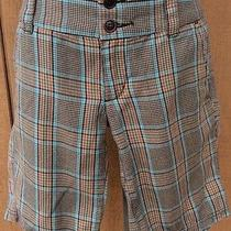 Roxy Plaid Shorts Size 3 Brown Blue Orange Long Length Photo