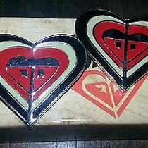 Roxy Quicksilver New Set of 2 Heart Hair Barrettes Clips With Box Photo