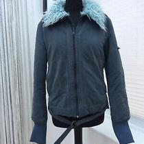 Roxy Quicksilver Y2k 90s Baby Blue Faux Fur Fluffy Collar Jacket Ski 10-12 Leopl Photo