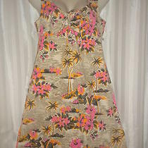 Roxy Quiksilver Hawaiian Hibiscus Floral Sun Dress Summer Beach Beige Pink Sz M Photo