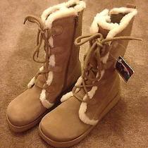 Roxy Quiksilver Snowcap Camel Tan Suede Leather Ivory Fur Boots 7.5 7 1/2 457578 Photo