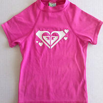 Roxy Rash Guard Top Swimwear Childrens Girls Size Medium Short Sleeve Pink Photo