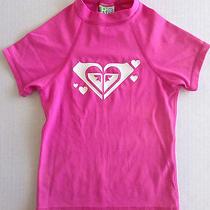 Roxy Rash Guard Top Swimwear Childrens Girls Size Medium Short Sleeve Pink Photo