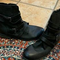 Roxy Reyes Black Faux Leather Mid-Calf Boots Flats 9 M 40 Harness Strap Zip Moto Photo