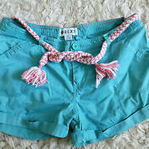 Roxy Sexy Torquiose Blue Cotton Summer Shorts W/ Pink Drawstring - W27  Photo
