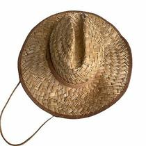 Roxy Straw Beach Hat With Cord Boho Tropical Style Round Rim Photo