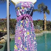 Roxy Sundress Dress Stretch M/l Cotton Multi-Color Polka Dot Strapless Pockets Photo