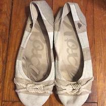 Roxy Tan Beige Oatmeal Stripe Nautical Rope Boho Hemp Ballet Flats Shoes 8.5 Photo