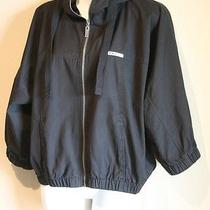 Roxy Women's Black Jacket Large Hooded Batwing Shirt Coat Top Zip Overcoat Shirt Photo