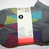 Roxy Womens Ankle Socks 6 Pairs Fits Shoe Size 4-10 Sock Size 9-11 Gray/multi Photo