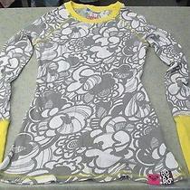 Roxy Womens M Gray With Yellow Trim Cotton Long Sleeve Shirt Photo