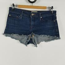 Roxy Womens Size S 10 Blue Denim Short Shorts Frayed Hem Short Booty Shorts Photo