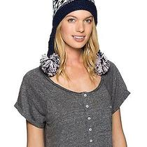 Roxy Womens Winter Hat Beanie Cap Campfire Tassels Ear Muffs Navy Purple White Photo