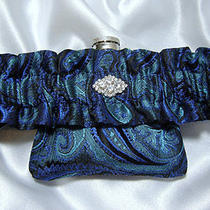 Royal Blue and Tiffany Paisley Flask Garter - 3 Oz Hip Flask and Funnel Included Photo