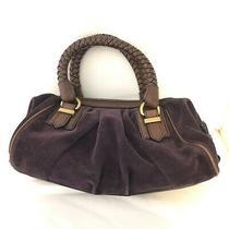 Royal Purple Banana Republic Bag Purse Hobo Suede Tan/brown Leather Trim Photo
