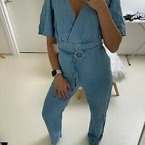 Rrp 130 Guess Womens Denim Belted Jumpsuit With Cut Out Back Bootcut Size S Photo