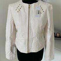 Rrp 160 Guess White Faux Leather Biker Jacket Size L Photo