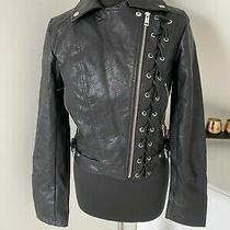Rrp 177 Guess Womens Faux Leather Black Biker Jacket Size S Photo