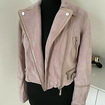 Rrp 180 Guess Pink Suede Goat Leather Jacket  Size S Photo