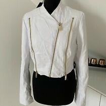 Rrp 180 Marciano White Faux Leather Cropped Jacket Size S Photo