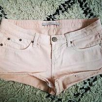 Rrp 265 Victoria Beckham Designer Jeans Shorts W26 Uk8 Peach / Pink Photo