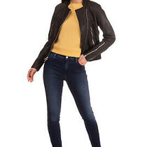 Rrp 1035 Rag & Bone Leather Jacket Size 0 / Xs Lightly Padded Crumpled Effect Photo