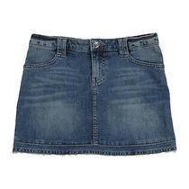 Rrp 105 Armani Junior Denim Skirt Size 11y / 148cm Faded Distressed Hem Unlined Photo