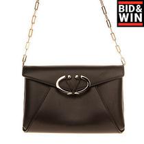 Rrp 1065 Valentino Garavani Leather Clutch Bag Chain Strap 'V' Logo Flip Lock Photo