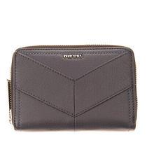 Rrp 110 Diesel Jaddaa Leather Bifold Wallet Grainy Panel Zip-Around Coin Pocket Photo