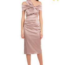 Rrp 1220 Talbot Runhof Satin Pencil Dress Size 34 / Xs Pleated Asymmetric Photo