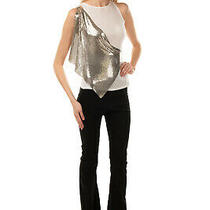 Rrp 1290 Versace Vest Top Size 40 / S Silk Blend Metal Mesh Overlay Crew Neck Photo