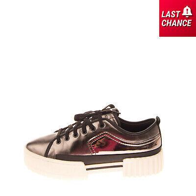 RRP €130 DIESEL S-MERLEY LOW Leather Sneakers Size 38.5 UK 5.5 US 8 Metallic Photo