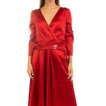 Rrp 1330 Talbot Runhof Satin Evening Dress Size 40 L Pleated 3/4 Sleeve v Neck Photo