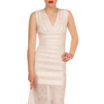 Rrp 1380 Herve Leger by Max Azria Knitted Bandage Dress Size S Ivory Gathered Photo