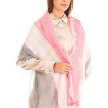 Rrp 140 Armani Collezioni Shawl Wrap Scarf Striped Frayed Edges Made in Italy Photo