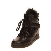 Rrp 140 Uma Parker Leather Sneakers Size 39 Uk 6 Us 9 Rabbit Fur Wedge Heel Photo