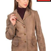 Rrp 1400 Miu Miu Leather Blazer Style Jacket Size 42 M-L Dirty Look Notch Lapel Photo