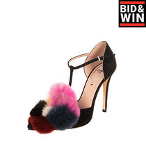 Rrp 1475 Fendi Roma Leather T-Strap Pumps Eu 36 Uk 3 Us 5.5 Heel Fox & Mink Fur Photo