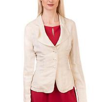 Rrp 155 Armani Jeans Blazer Jacket Size 40 / S Linen Blend Lapel Collar Photo