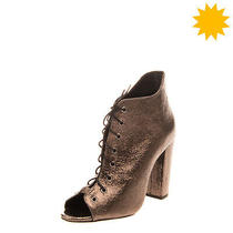 Rrp 160 Schutz Leather Booties Size 38 Uk 5 Us 7 Metallic & Crumpled Effect Photo