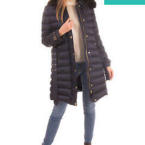 Rrp 1625 Burberry Down Quilted Coat Size L Blue Fox Fur Trim Belted Hooded Photo