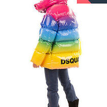 Rrp 1735 Dsquared2 Down Rainbow Puffer Jacket Size 38 / Xs Coated Logo Back Photo