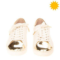Rrp 175 Michael Michael Kors Leather Sneakers Eu 41 Uk 8 Us 10 Metallic Effect Photo