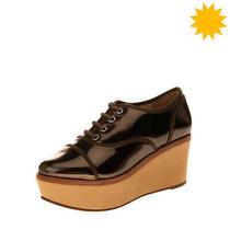 Rrp 175 Schutz Leather Booties Size 36.5 Uk 3.5 Us 5 Platform Wedge Heel Patent Photo