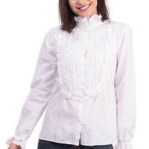 Rrp 175 See by Chloe Shirt Size 38 / Xs Ruched Bib Front Made in Portugal Photo
